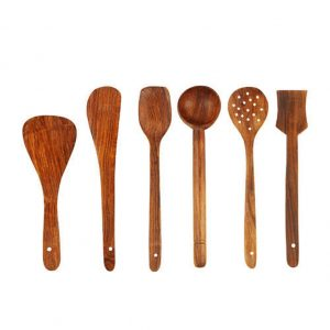 Buy Any Kitchen Wooden Skimmer Spoons (Brown) - Set of 5